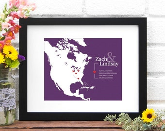 Personalized Travel Map, Anniversary Art Print, Gift for Him, North America, Commemorate Vacation, Road Trip, Cross Country - 8x10 Art Print