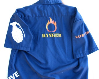 Safety 3rd shirt - CUSTOM Mens Flammable SAFETY THIRD Dickies work shirt Explosive Grenade Biohazard disaster Fire Skull Burning Man