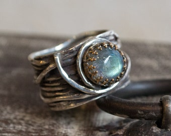 Silver gold ring, engagement ring, Labradorite ring, wide silver band, rustic ring, gypsy ring, crown ring, boho ring - Love Itself R2255