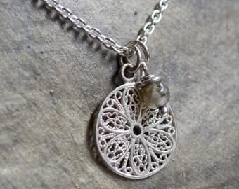 Silver necklace, labradorite pendant, boho necklace, small pendant,  simple silver necklace, every day necklace - Into your heart N2003