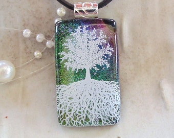 Tree of Life, Dichroic Fused Glass Pendant, Glass Jewelry, Enamel, Necklace Included, A1