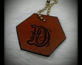 Custom Leather Initial Key Chain Tag Hand Stamped Any Letter