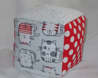 Gray Cat Fabric Block Rattle