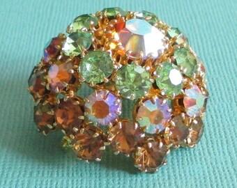 Vintage Warner Style Domed Rhinestone Brooch, Topaz Rhinestone Jewelry, Green Rhinestone Jewelry