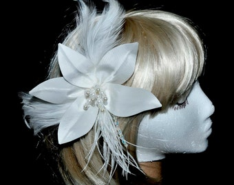 White Flower Bridal Hair Piece w/feathers...clip.....Wedding.. formal..bridesmaids..flower girl. hats or garments