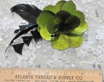 Lime/Black feather hair/hat flower.. formal, wedding, bridesmaids, flower girl,pageant..  clip on back