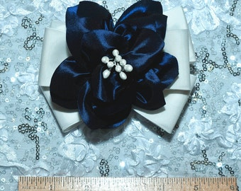 Royal /White iridescent fabric  bow ,hair flower . formal,  pearls, wedding, bridesmaids, flower girl,pageant..  clip on back