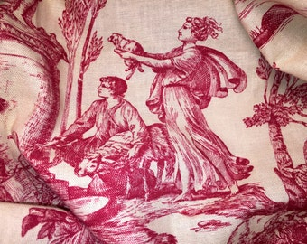 Vintage Toile Everfast Fabric Table Cover