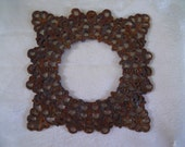Vintage Rusty Steel Square Filigree Stamping