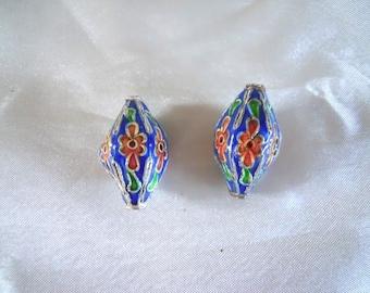 Pair Enamel  Beads