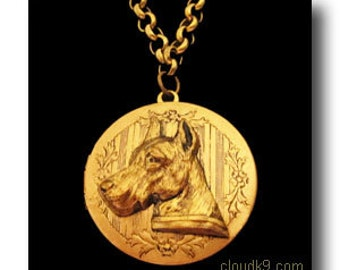 Great Dane Jewelry: LOCKET NECKLACE Vintage Style Great Dane Jewelry Gifts by Cloud K9 . Locket Pendant holds 2 photos. Great Dane Pendant