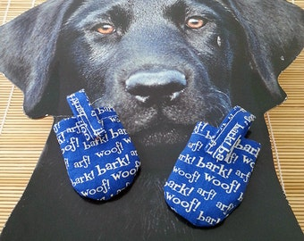 Blue Bark Woof Arf Dog Tag Covers