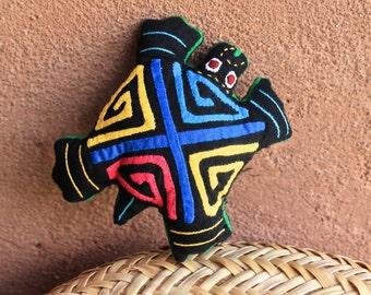 Adorable Lavender Filled Mola Turtle 'Dream Spirit' - Kuna Indian Reverse Applique