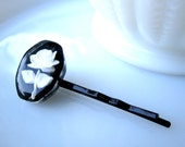 Black Rose Hairpin - vintage reverse carved lucite rose cabochon on black metal hairpin - Bridal - Prom - Free Shipping to USA