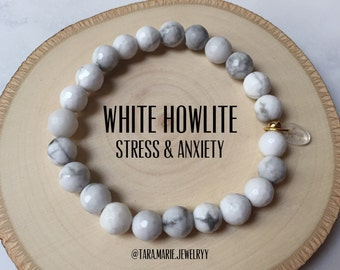 HEALING GEMS: White Howlite for Stress and Anxiety. Beaded stretch bracelet. Gift for him or her.