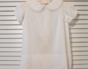 Vintage Baby Dress - White Batiste - Embroidery and Tiny Tucks
