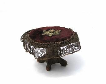 Antique Dollhouse Table Circa 1890 Beaded Velvet Top Lace Trim Miniature Furniture