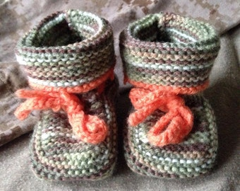 Knitted Baby Booties - camo, size 0-6 mo