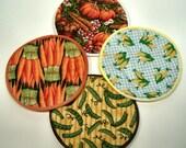 Garden Vegies Cloth Coaster Set of 4   Set # 4