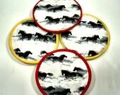 Running Horses in Snow  Cloth Coaster Set of 4   Set #37