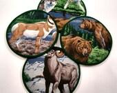 Rocky Mountain Wildlife Cloth Coaster Set of 4    Set #18