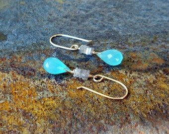 Peru Blue Chalcedony and Labradorite Stack Gold Filled Earrings