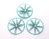 Teal Quilled Flower Tags, Scrapbook Embellishments, Card Making Supplies, Quilling, Husked Flower Tags, Paper Crafting Supply