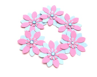Pink and Blue Die Cut Flower Embellishments, Scrapbooking Flowers, Card Making Supply, Paper Flowers, Handmade Flowers with Gems