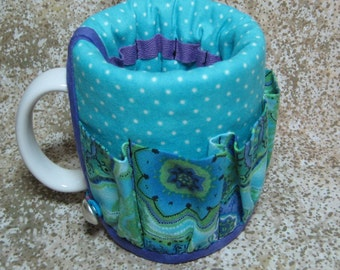 Coffee Caddy Desk Sewing Organizer Cozy For Mug or Goblet Purple Turquoise Medallions Crap Caddy