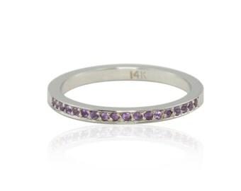 Amethyst Ring, February Mother's Ring - Amethyst Birthstone - LS1566