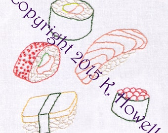 Sushi Hand Embroidery Pattern
