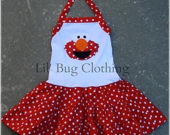 Custom Boutique Clothing Elmo Sesame Street Tiered Halter Polka Dot Dress
