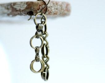 Brass Earrings, Chain Earrings, Long Earrings, Antiqued Brass Jewelry, Circle Link Earrings, Metal Earrings, Statement Earrings