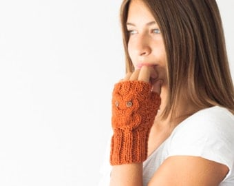 Sales Hand knit owl fingerless gloves in burnt orange texting gloves hand warmers knit gloves wrist warmers texting mittens