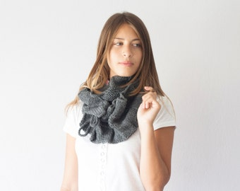 Knit scarf grey cowl neckwarmer in dark grey with ruffles long scarf neck warmer loop scarf scarf with pleats