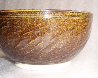 Wheel Thrown Pottery Serving Bowl with Chattered Texture Exterior in Dark Amber or Burgundy with Golden Tea Dust Specks