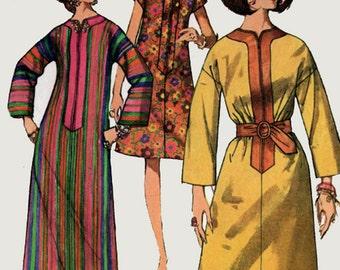 1960s Caftan Dress with Split Neckline Simplicity 7018 Vintage 60s Sewing Pattern Size 14 Bust 34