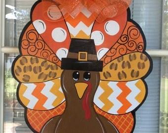 Front door decor turkey decorations thanksgiving decorations Turkey door hanger. & Turkey Door Hanger Thanksgiving Wreath Turkey Wreath Pezcame.Com