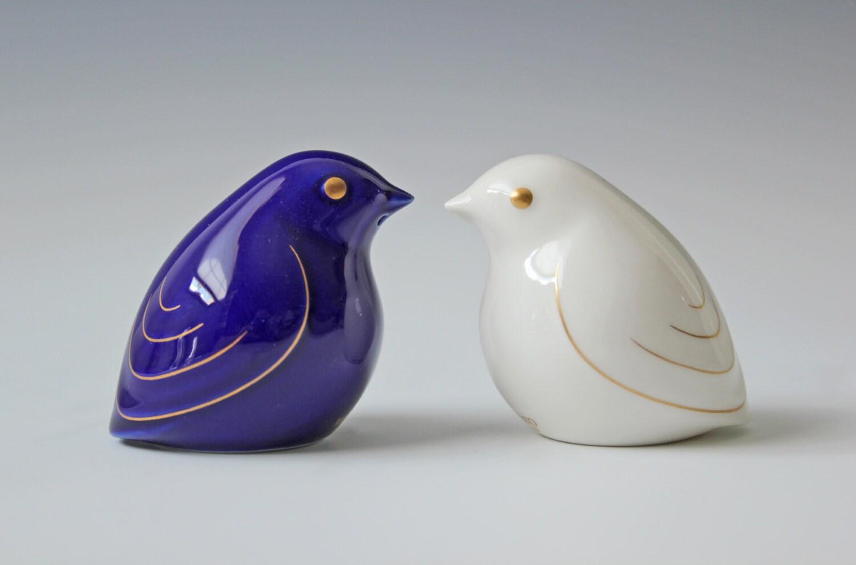 Porcelain Love Birds Salt Pepper Shakers Blue And White