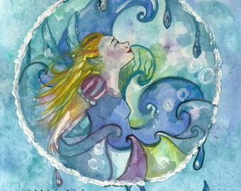 Water Element Fairy ACEO Art Print Water Fairy Fantasy Art Print Fairy ACEO Sea Water Free Spirit Illustration Blue Art by Niina Niskanen