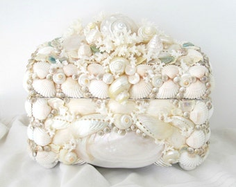 Shell Box Coral Abalone and Pearl Turbos Seashell Jewelry Keepsake Chest Coastal Decor Urn White Pale Aqua Pearl Colored Box