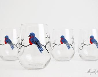 Bluebird Stemless Wine Glasses - Set of 4 Stemless Bluebird Glasses - Bluebirds, Blue Bird Glasses, Bluebird Wine Glasses, Blue Birds