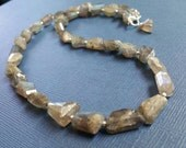 FREE SHIPPING - Labradorite Faceted Nugget Gemstone Bead Necklace, Gray Necklace