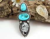 Sacred White Buffalo Turquoise Cabochon Sterling Silver Statement Ring, rustic, artisan, metalwork, handmade, boho, gypsy, cowgirl