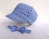 NEWSBOY fabric hat and BOW tie set - child TODDLER - blue checks - photography prop - boy hat - newsboy cap - Navy Blue