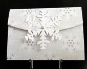 Gift Card Holder Holiday Cream and White Snowflake with Snowflake Closure