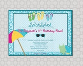 Cheetah Pool Party Birthday Invitation --- Digital Party Invite - Birthday Pool Party