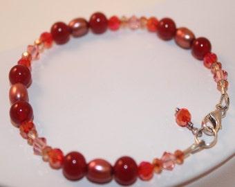 Sunset, Carnelian Bracelet, Swarovski Crystal, Freshwater Pearl, Sterling Silver Jewelry,  Shimmer Shimmer, One of a Kind