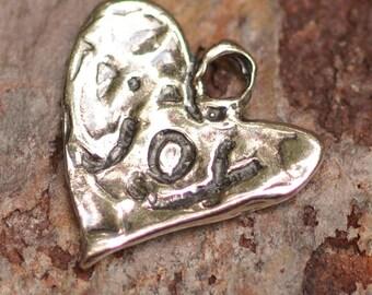 Artisan Joy on a Heart Sterling Silver Charm