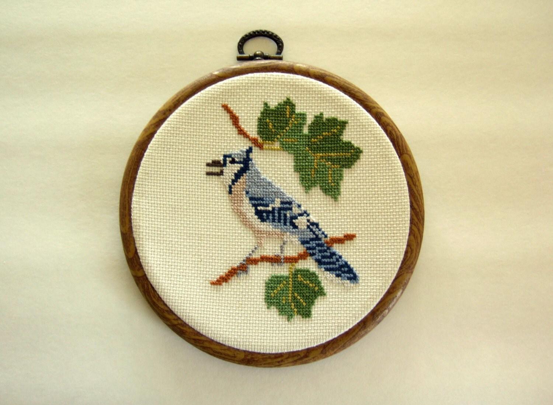 Wall Decor Cross Stitch : Bird art framed cross stitch blue jay wall by